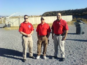 From right to left, Mike Kupari, Wes Dahl, and Larry Correia as instructors at a defensive pistol class